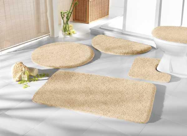 Mikrofaser Badprogramm natur beige Badematte Set Badvorleger Set Badezimmerteppich Badematten Set Badteppiche Badezimmermatten Badganitur Badläufer