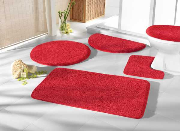 Mikrofaser Badprogramm rot Badematte Set Badvorleger Set Badezimmerteppich Badematten Set Badteppiche Badezimmermatten Badganitur Badläufer