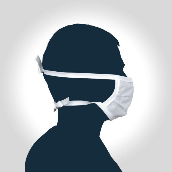PROCAVE Wiederverwendbare Mundbedeckung mit Bindebänder: SET 10 Stück Mundbedeckung Seitenansicht