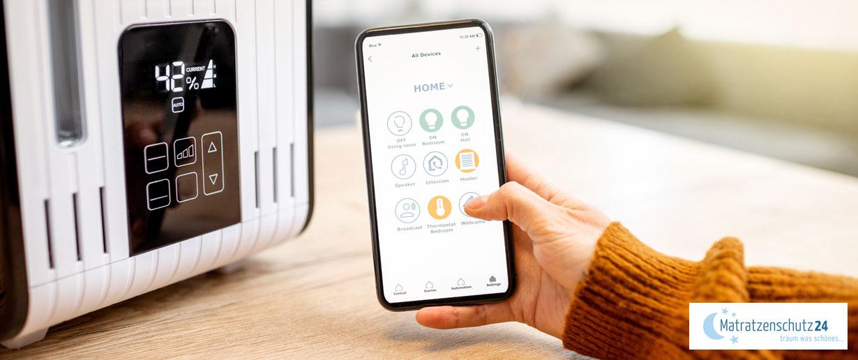 Smartphone mit App zum Luftfeuchtigkeit messen