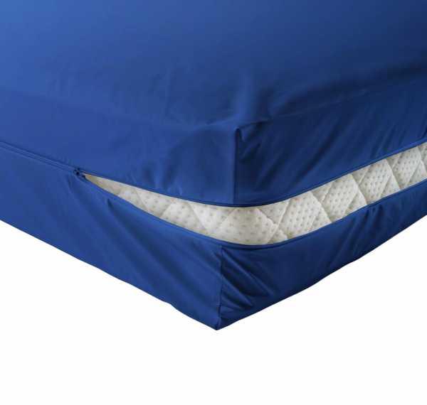 unversteppter Matratzenbezug in blau