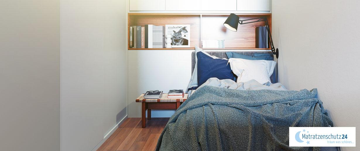 viel Stauraum trotz einem kleinen Schlafzimmer