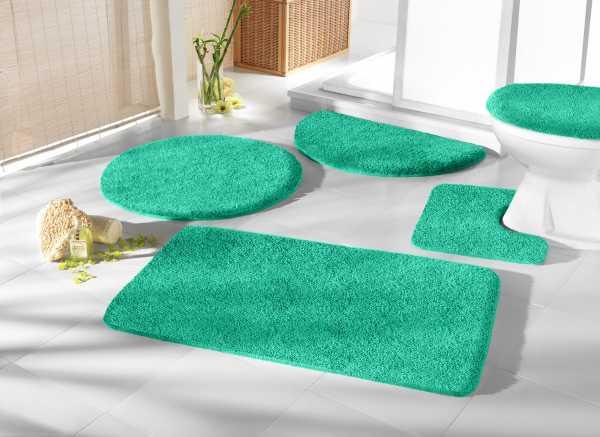 Mikrofaser Badprogramm smaragdgrün grün Badematte Set Badvorleger Set Badezimmerteppich Badematten Set Badteppiche Badezimmermatten Badganitur Badläufer