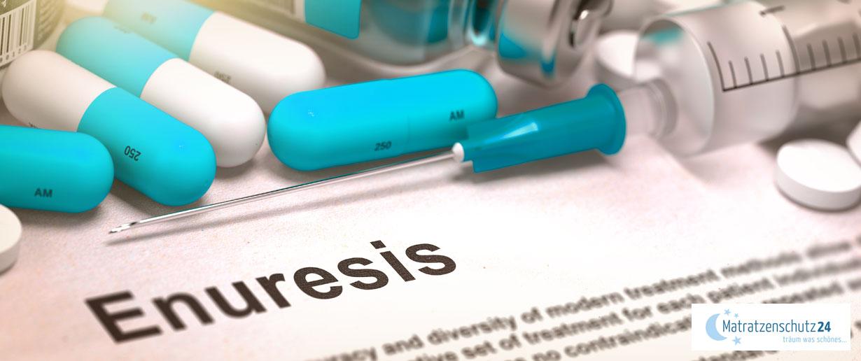 ärztlicher Aufklärungsbogen zur Enuresis sowie verschiedene Medikamente