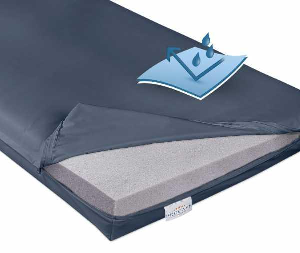 Pflegematratze mit Kaltschaumkern und wasserdichtem Bezug in dunkelblau PROCAVE Matratzenschutz24