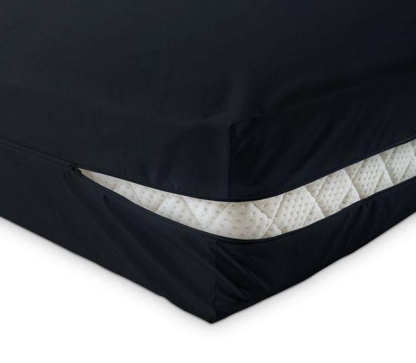 unversteppter Matratzenbezug in schwarz aus Baumwolle Matratzenschutz24 by PROCAVE
