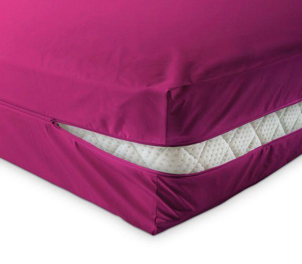 unversteppter Matratzenbezug in pink rosa lila aus Baumwolle Matratzenschutz24 by PROCAVE