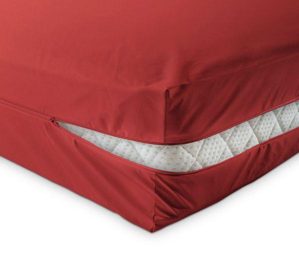 unversteppter Matratzenbezug in rot aus Baumwolle Matratzenschutz24 by PROCAVE