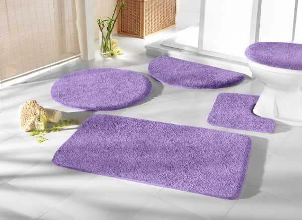 Mikrofaser Badprogramm flieder lila purpur Badematte Set Badvorleger Set Badezimmerteppich Badematten Set Badteppiche Badezimmermatten Badganitur Badläufer