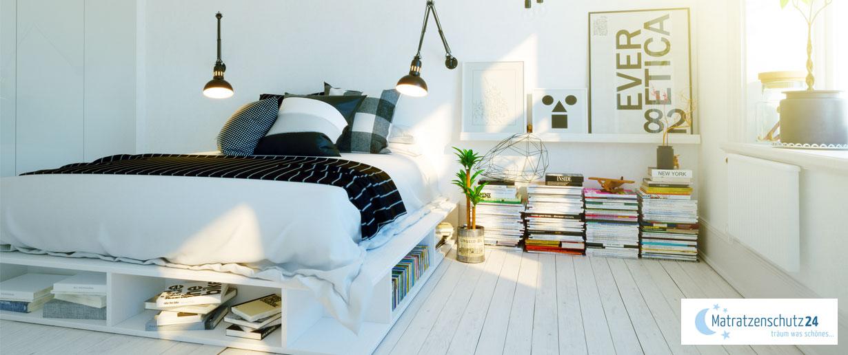 helles Schlafzimmer im Scandi-Style mit Holz und wenig Schnickschnack