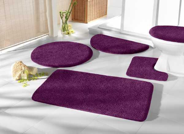 Mikrofaser Badprogramm aubergine lila Badematte Set Badvorleger Set Badezimmerteppich Badematten Set Badteppiche Badezimmermatten Badganitur Badläufer