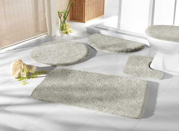 Mikrofaser Badprogramm silber Badematte Set Badvorleger Set Badezimmerteppich Badematten Set Badteppiche Badezimmermatten Badganitur Badläufer